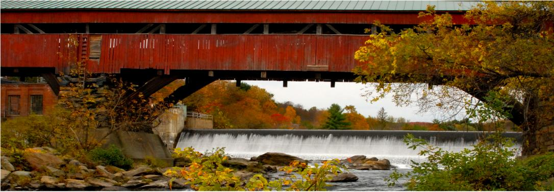 The Taftsville covered bridge in Woodstock, Vermont - 190 feet long