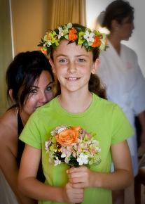 Preping the flower girl